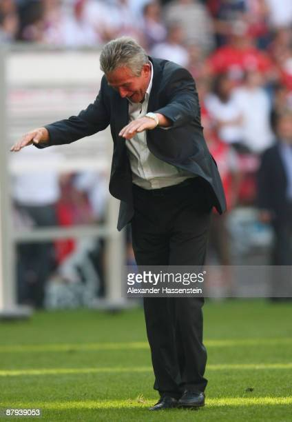 Jupp Heynckes head coach of Muenchen celebrates with fans after the Bundesliga match between FC Bayern Muenchen and VfB Stuttgart at Allianz Arena on...