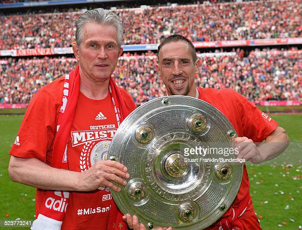 Jupp Heynckes head coach of Muenchen celebrates with Franck Ribery after the Bundesliga match between FC Bayern Muenchen and FC Augsburg at Allianz...