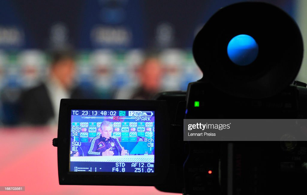 Jupp Heynckes, head coach of Muenchen is seen on a camera screen during a press conference during the UEFA Champions League Finalist Media Day at Allianz Arena on May 14, 2013 in Munich, Germany.
