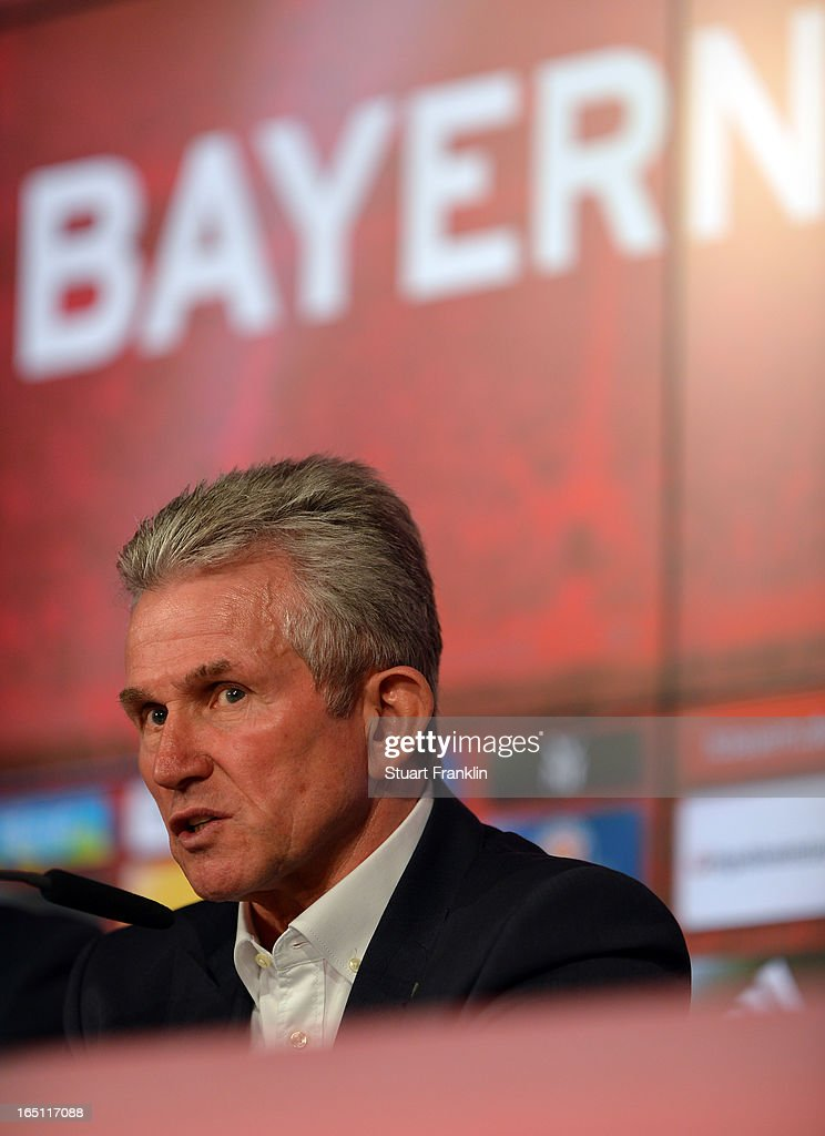 Jupp Heynckes, head coach of Muenchen ponders during the press conference after the Bundesliga match between FC Bayern Muenchen and Hamburger SV at Allianz Arena on March 30, 2013 in Munich, Germany.