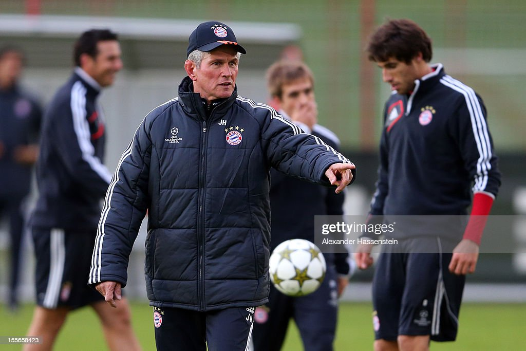 <a gi-track='captionPersonalityLinkClicked' href=/galleries/search?phrase=Jupp+Heynckes&family=editorial&specificpeople=2062040 ng-click='$event.stopPropagation()'>Jupp Heynckes</a>, head coach of Muenchen reacts during a FC Bayern Muenchen training session ahead of their UEFA Champions League group F match against OSC Lille at the Saebener Strasse training ground on November 6, 2012 in Munich, Germany.