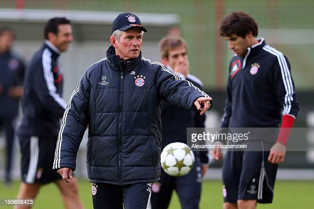 Jupp Heynckes head coach of Muenchen reacts during a FC Bayern Muenchen training session ahead of their UEFA Champions League group F match against...