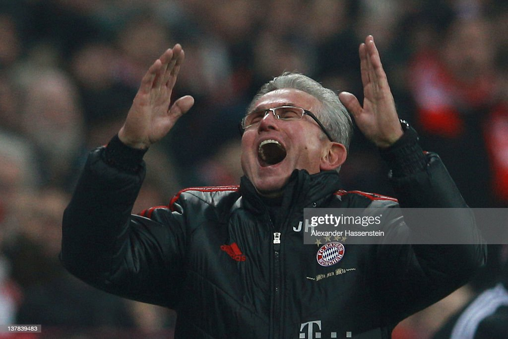 Jupp Heynckes, head coach of Muenchen reacts during the Bundesliga match between FC Bayern Muenchen and VfL Wolfsburg at Allianz Arena on January 28, 2012 in Munich, Germany.