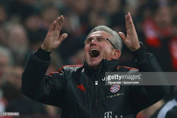 Jupp Heynckes head coach of Muenchen reacts during the Bundesliga match between FC Bayern Muenchen and VfL Wolfsburg at Allianz Arena on January 28...