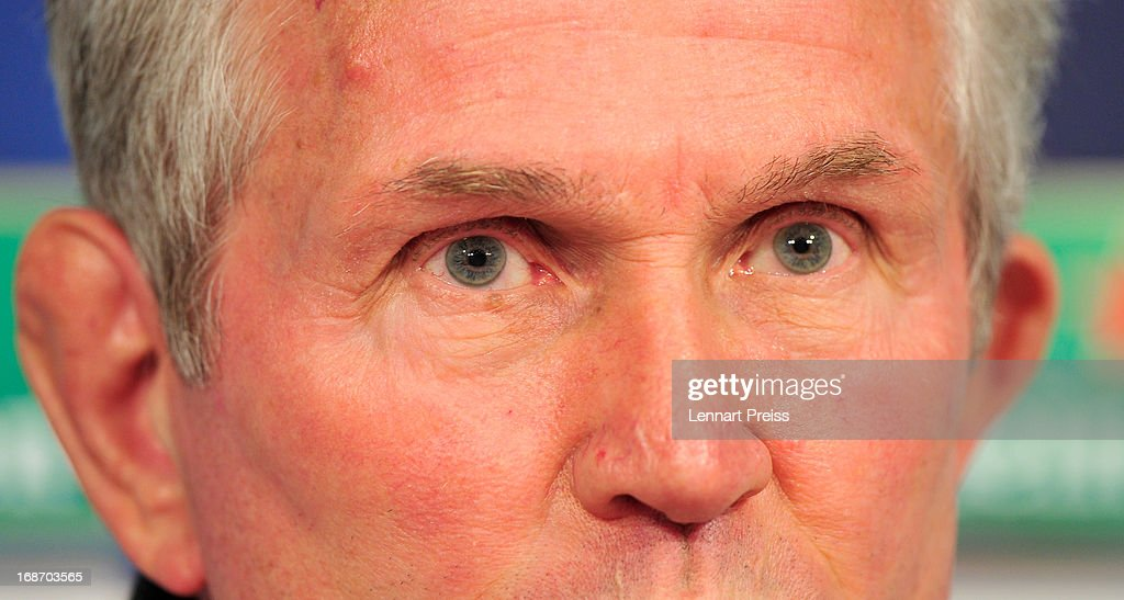 Jupp Heynckes, head coach of Muenchen speaks during a press conference during the UEFA Champions League Finalist Media Day at Allianz Arena on May 14, 2013 in Munich, Germany.