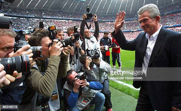 Jupp Heynckes new head coach of Muenchen looks on prior to the Bundesliga match between FC Bayern Muenchen and Borussia M'gladbach at the Allianz...