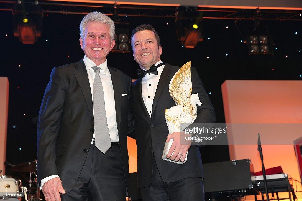 Jupp Heynkes Lothar Matthaeus with Meissen Pegasos Award during the German Sports Media Ball at Alte Oper on November 7 2015 in Frankfurt am Main...