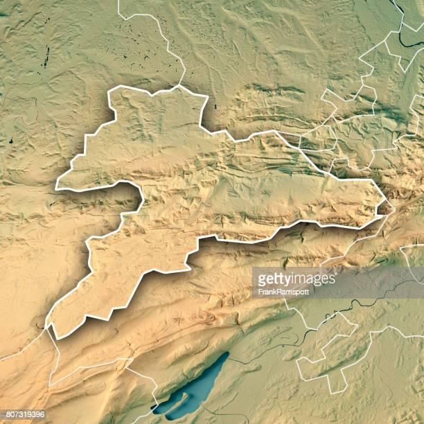 Jura Schweiz 3D Render topographische Karte Kantonsgrenze