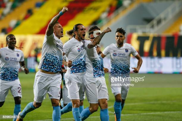 Jurac Kucka of Trabzonspor celebrates after scoring a goal during the Turkish Super Lig soccer match between Goztepe and Trabzonspor at the Bornova...