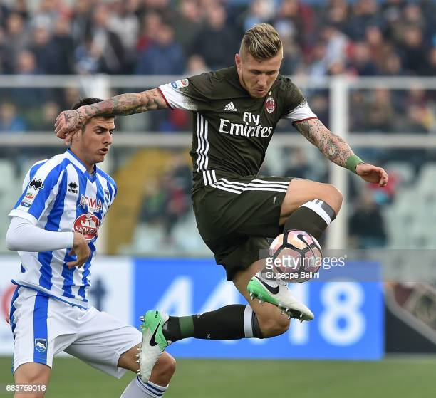 Juraj Kucka of AC Milan in action during the Serie A match between Pescara Calcio and AC Milan at Adriatico Stadium on April 2 2017 in Pescara Italy