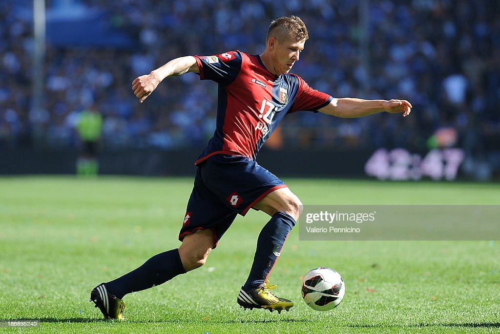 <a gi-track='captionPersonalityLinkClicked' href=/galleries/search?phrase=Juraj+Kucka&family=editorial&specificpeople=6388600 ng-click='$event.stopPropagation()'>Juraj Kucka</a> of Genoa CFC in action during the Serie A match between Genoa CFC and UC Sampdoria at Stadio Luigi Ferraris on April 14, 2013 in Genova, Italy.