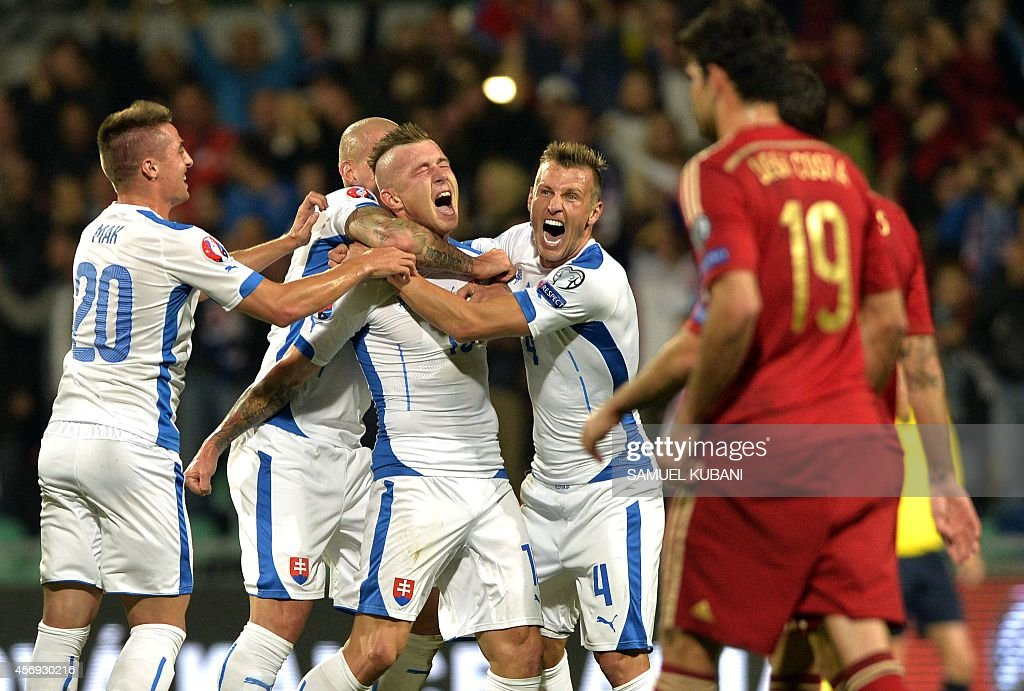 Juraj Kucka of Slovakia celebrates his goal during Euro 2016 qualifing football match between Slovakia and Spain in northern Slovak town of Zilina on...