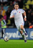 Juraj Kucka of Slovakia in action during the EURO 2012 Group B qualifier between Slovakia and Russia at the MSK Zilina stadium on October 7 2011 in...