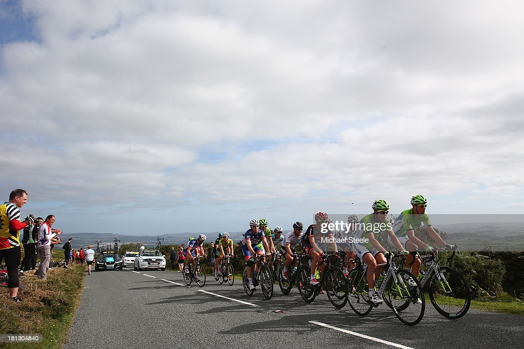Juraj Sagan (L) of Team Cannondale heads towards the summit on Haytor during stage six of the Tour of Britain from Sidmouth to Haytor on September 20, 2013 in Sidmouth, England.