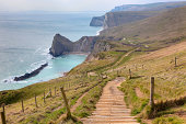 Looking towards Man o' War Cove and Durdle Door on the Jurassic Coastline, Dorset, England.
