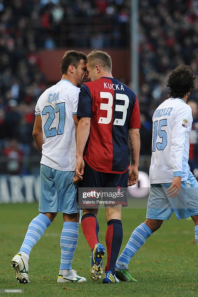 Juray Kucka (R) of Genoa CFC reacts to <a gi-track='captionPersonalityLinkClicked' href=/galleries/search?phrase=Lorik+Cana&family=editorial&specificpeople=662499 ng-click='$event.stopPropagation()'>Lorik Cana</a> of S.S. Lazio during the Serie A match between Genoa CFC and SS Lazio at Stadio Luigi Ferraris on February 3, 2013 in Genoa, Italy.