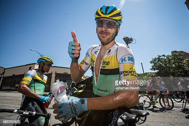 Jure Kocjan of Team SmartStop happy after winning stage 2 of the Tour of Utah on August 4 2015 in Ogden Utah