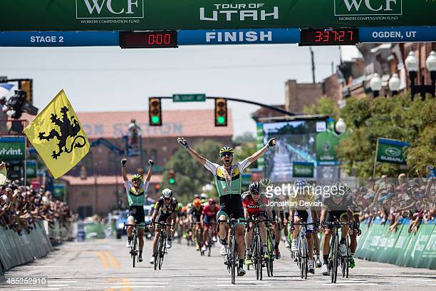 Jure Kocjan of Team SmartStop wins stage 2 of the Tour of Utah on August 4 2015 in Ogden Utah