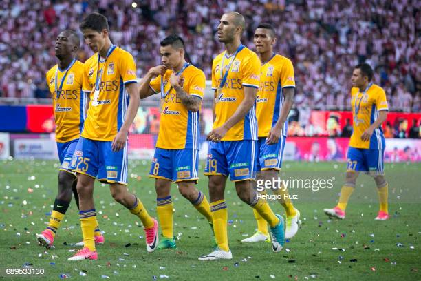 Jurgen Damm Luis Advíncula Lucas Zelarrayán and Guido Pizarro of Tigres look dejected after losing the Final second leg match between Chivas and...
