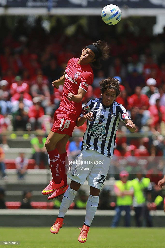 Jurgen Damm of Pachuca struggles for the ball with Carlos Orrantia of Toluca during a match between Toluca and Pachuca as part of 5th round Apertura 2014 Liga MX at Nemesio Diez Stadium on August 17, 2014 in Toluca, Mexico.