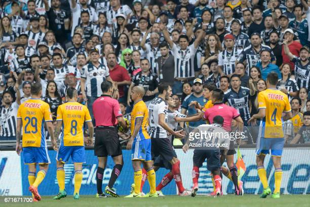 Jurgen Damm of Tigres argues with Edgar Castillo of Monterrey during the 15th round match between Monterrey and Tigres UANL as part of the Torneo...