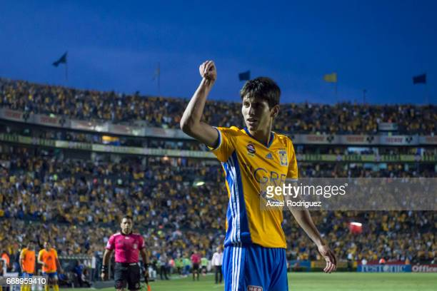 Jurgen Damm of Tigres celebrates after scoring his team's second goal during the 14th round match between Tigres UANL and Pumas UNAM as part of the...
