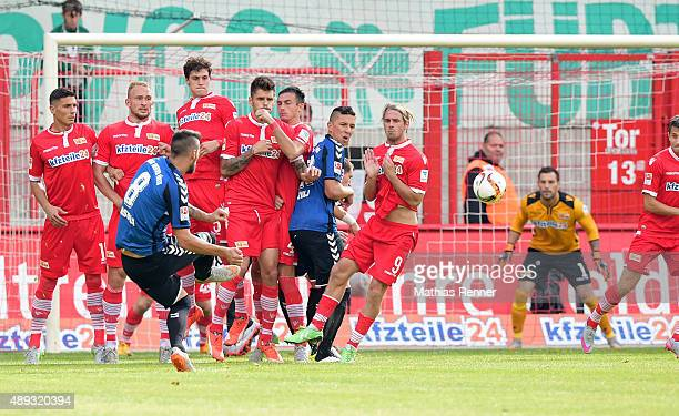 Jurgen Gjasula of SpVgg Greuther Fuerth scores the 11 during the game between Union Berlin and Spvgg Greuther Fuerth on September 20 2015 in Berlin...