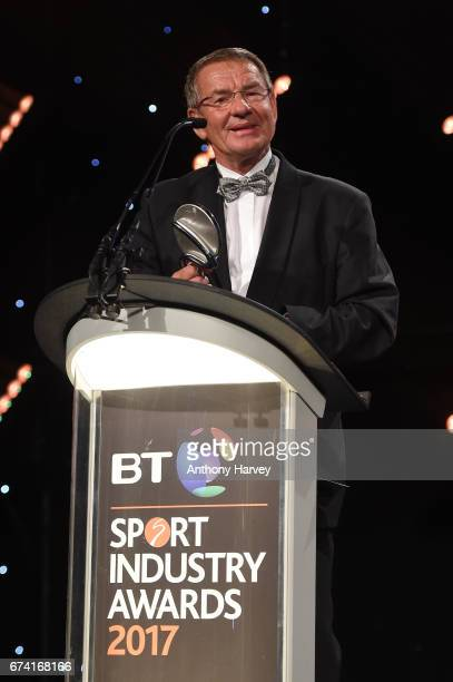 Jurgen Grobler receives the Coutts Lifetime Achievement award during the BT Sport Industry Awards 2017 at Battersea Evolution on April 27 2017 in...