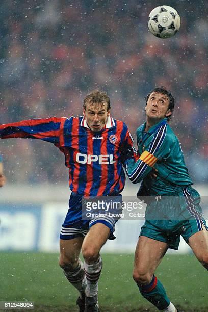 Jurgen Klinsmann and Sergi Barjuan during the first leg of the 19951996 UEFA Cup semifinal