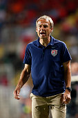 Jurgen Klinsmann coach of USA reacts after his players lose a chance at goal during an international friendly match between Chile and USA at El...