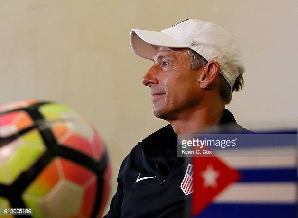 Jurgen Klinsmann of the United States speaks to the media prior to the US Men's National Team Training at Estadio Pedro Marrero on October 6 2016 in...