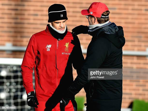 Jurgen Klopp and Dominic Solanke of Liverpool during a training session at Melwood Training Ground on November 30 2017 in Liverpool England