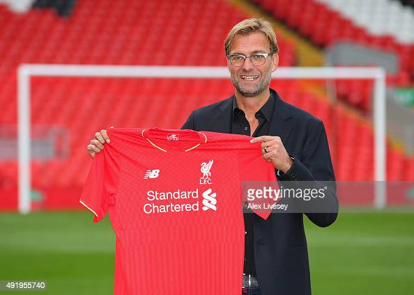 Jurgen Klopp at Anfield is unveiled as the new manager of Liverpool FC during a press conference at Anfield on October 9 2015 in Liverpool England