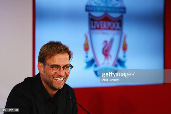 Jurgen Klopp is unveiled as the new manager of Liverpool FC during a press conference at Anfield on October 9 2015 in Liverpool England