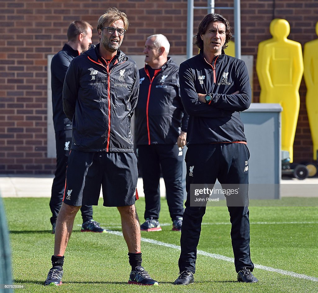 Jurgen Klopp Manager and Zeljko Buvac First team coach of Liverpool during a training session at Melwood Training Ground on September 18, 2016 in Liverpool, England.