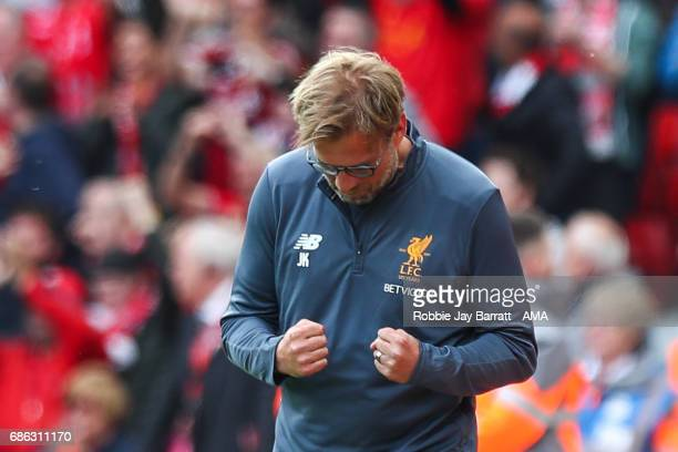 Jurgen Klopp manager / head coach of Liverpool celebrates after Georginio Wijnaldum of Liverpool scores a goal to make it 10 during the Premier...