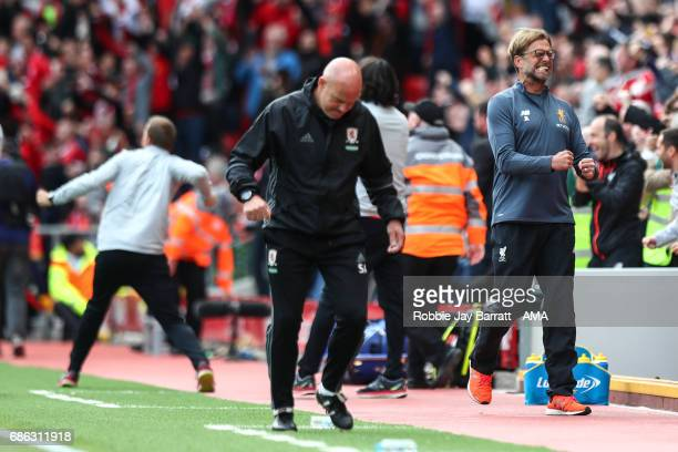 Jurgen Klopp manager / head coach of Liverpool celebrates after Georginio Wijnaldum of Liverpool scores a goal to make it 10 during the Premier...