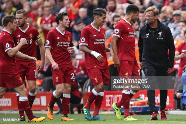 Jurgen Klopp manager / head coach of Liverpool celebrates with Dominic Solanke of Liverpool after Sadio Mane of Liverpool scores a goal to make it 10...