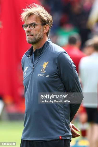 Jurgen Klopp manager / head coach of Liverpool during the Premier League match between Liverpool and Middlesbrough at Anfield on May 21 2017 in...