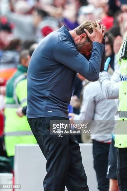 Jurgen Klopp manager / head coach of Liverpool reacts after Georginio Wijnaldum of Liverpool scores a goal to make it 10 during the Premier League...