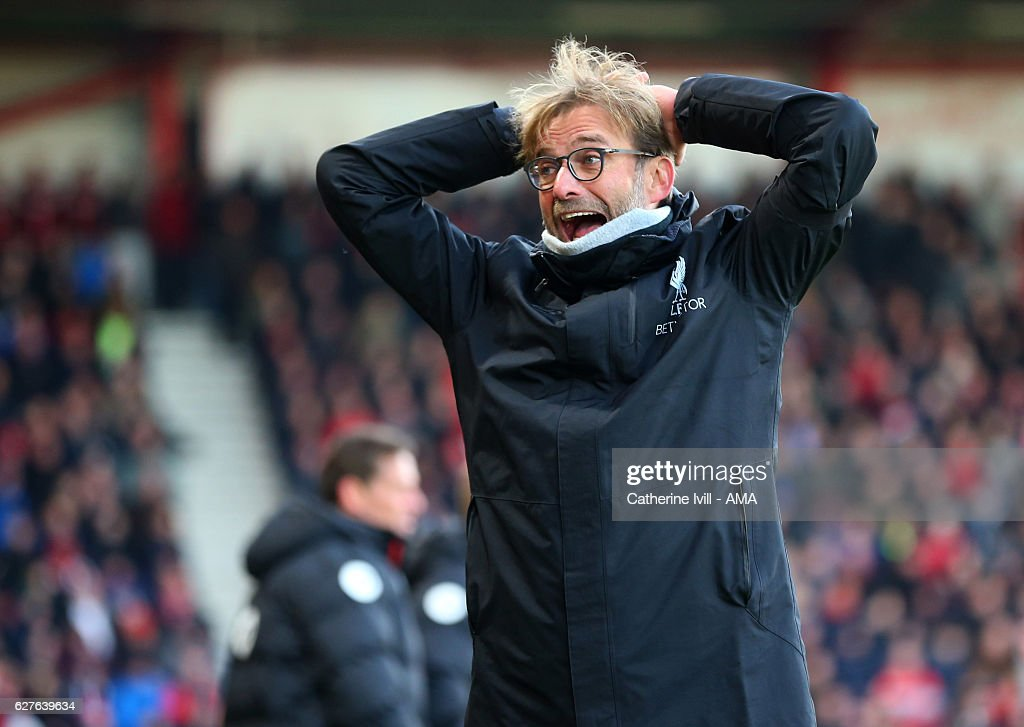 Jurgen Klopp manager / head coach of Liverpool reacts during the Premier League match between AFC Bournemouth and Liverpool at Vitality Stadium on December 4, 2016 in Bournemouth, England.