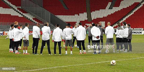 Jurgen Klopp manager of Liverpool addresses the team during a training session at Kazan Arena on November 4 2015 in Kazan Russia