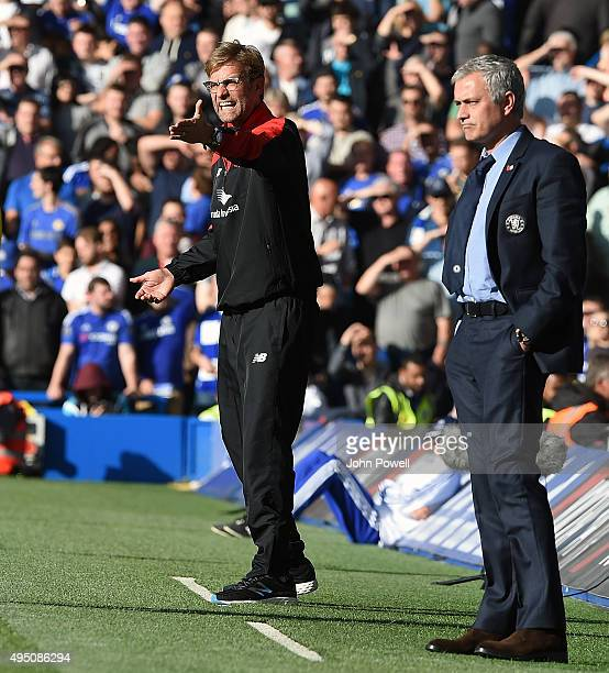Jurgen Klopp manager of Liverpool and Jose Mourinho manager of Chelsea during the Barclays Premier League match between Chelsea and Liverpool at...