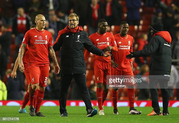 Jurgen Klopp manager of Liverpool and Martin Skrtel of Liverpool in discussion after the Barclays Premier League match between Liverpool and West...