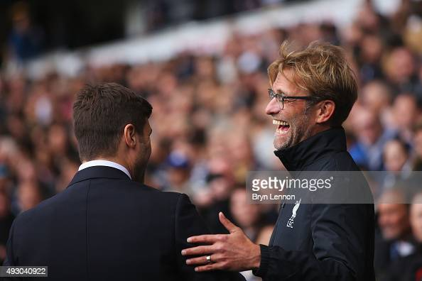 Jurgen Klopp manager of Liverpool and Mauricio Pochettino Manager of Tottenham Hotspur greet prior to the Barclays Premier League match between...