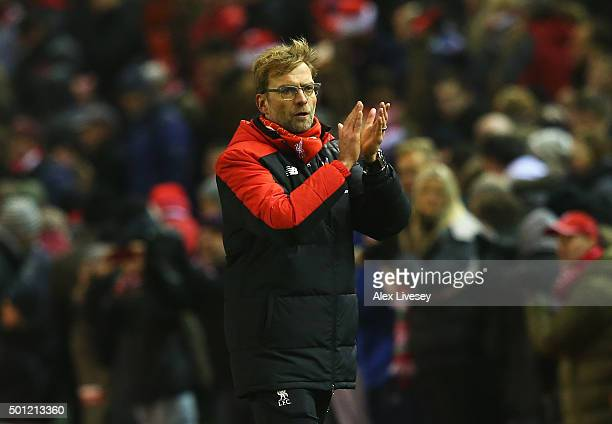 Jurgen Klopp manager of Liverpool applauds the crowd after the Barclays Premier League match between Liverpool and West Bromwich Albion at Anfield on...