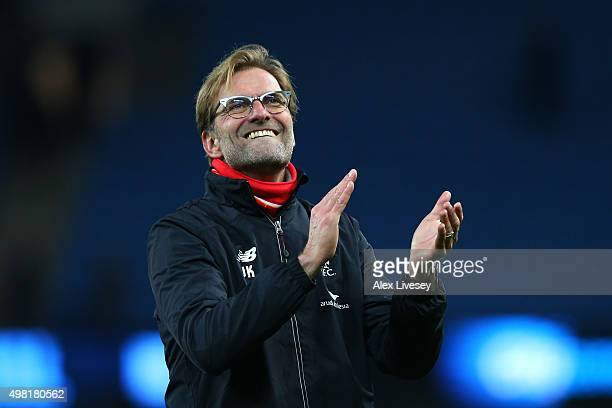 Jurgen Klopp manager of Liverpool applauds the supporters after his team's 41 win in the Barclays Premier League match between Manchester City and...