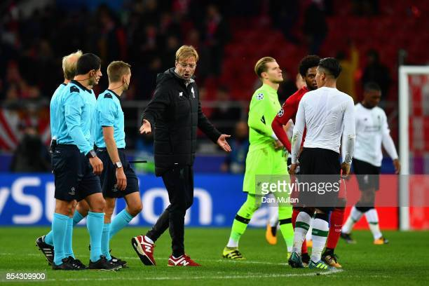 Jurgen Klopp Manager of Liverpool argues with referee Clement Turpin after the UEFA Champions League group E match between Spartak Moskva and...