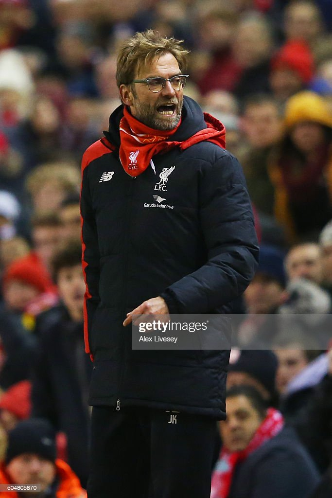 Jurgen Klopp, manager of Liverpool argues with the fourth official during the Barclays Premier League match between Liverpool and Arsenal at Anfield on January 13, 2016 in Liverpool, England.
