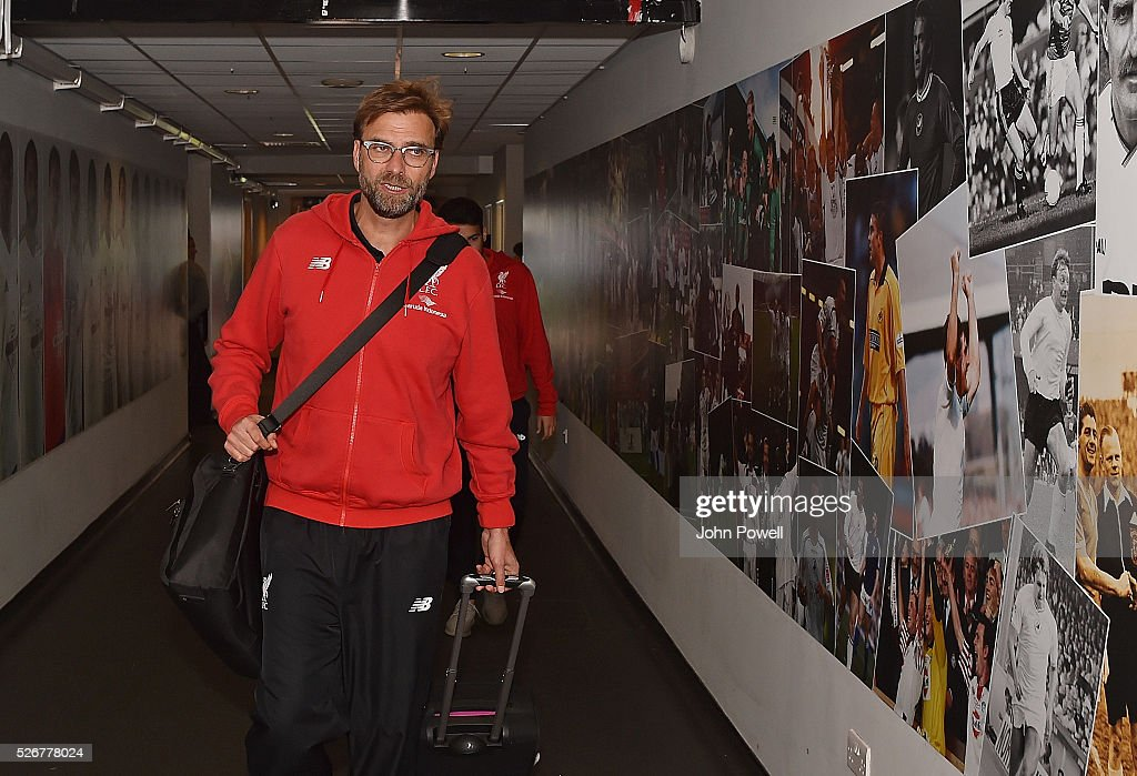Jurgen Klopp manager of Liverpool arrives before a Premier League match between Swansea City and Liverpool at the Liberty Stadium on May 01, 2016 in Swansea, Wales.